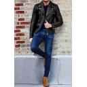 Cool Plain Black Long Sleeve Notched Collar Zip Placket Slim Fit PU Short Biker Jacket