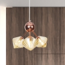 Industrial Style Diamond Chandelier Lighting Amber/Clear Glass 3/9/12-Bulb Dining Room Hanging Lamp, 13