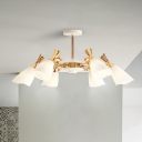 Gold Conical Hanging Lamp Modernism 6/8 Heads Frosted Glass Chandelier Lighting in Warm/White Light