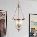 Colonial Candelabra Hanging Pendant 3 Heads Clear Glass Chandelier Lighting Fixture for Living Room