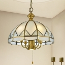 Gold Dome Chandelier Pendant Light Colonial Sandblasted Glass 6 Lights Dining Room Suspension Lamp