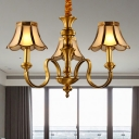 Colonial Starburst Chandelier Lamp Metal 3/5/6 Heads Ceiling Hanging Light in Gold for Living Room