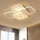 Acrylic Square Ceiling Mount Light Contemporary White LED Flush Mount in Warm/White Light