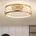Circular Acrylic Flush Mount Light Postmodern Gold 18