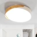 Drum Metal Flush Mount Fixture Macaron White LED Ceiling Lamp for Study Room in Warm/White Light
