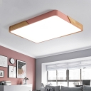 Rectangle Metal Flush Mount Macaron White/Pink LED Ceiling Lighting with Acrylic Diffuser