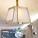 Trapezoid Restaurant Ceiling Chandelier Traditionalist Frosted White Glass 5 Heads Hanging Light Fixture