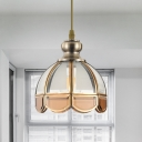 1 Bulb Ceiling Pendant Light Traditional Stair Hanging Lamp with Flower Clear/Beige Glass Shade