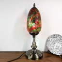 Turkish Oval Table Lamp Single Bulb Stained Crackle Glass Night Table Light in Bronze for Restaurant