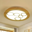 Round Wood Flushmount Lighting Minimalist LED Beige Close to Ceiling Lamp for Living Room