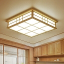 Wood Square Flush Mount Contemporary LED Flushmount Lighting in Beige for Living Room, Warm/White Light
