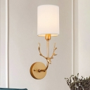 Cylinder Fabric Wall Lighting Countryside 1 Head Living Room Sconce Lamp Fixture in Black/Brass