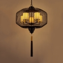 Lantern Dining Room Ceiling Pendant Traditional Metal 5 Heads Black Chandelier Light Fixture with White Fabric Shade