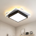 Black Square Ceiling Lighting Minimalist Acrylic LED Flush Mount Light in Warm/White Light