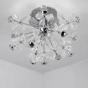 Contemporary Sputnik Semi Flush Mount Crystal 13 Heads Silver Ceiling Light Fixture