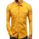 Hot Popular Solid Color Long Sleeve Chest Pocket Slim Fit Button Up Work Shirt