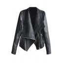 Cool Women's Long Sleeve Exaggerate Collar Zipper Front Pockets Side Plain Relaxed Leather Draped Jacket