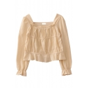 Fancy Cute Girls' Long Sleeve Square Neck Ruched Ruffled Trim Relaxed Fit Plain Crop Blouse Top