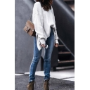 Cool White Long Sleeve Boat Neck Twist Slit Back Asymmetric Boxy Pullover Sweater for Ladies