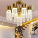 Postmodern Sputnik Ceiling Fixture Fluted Crystal 7 Heads Living Room Semi Flush Mount Lamp in Gold