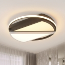 Modern Circle Shaped Flush Ceiling Light Fixture Acrylic LED Bedroom Flushmount Lighting in Black and White