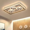 Acrylic Rectangle Flush Light Fixture Contemporary LED Flush Mount in Black for Bedroom, Warm/3 Color Light