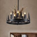Metal Candle Ceiling Chandelier Farmhouse 5 Heads Hanging Pendant Light in Black