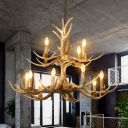 Brown 12 Heads Chandelier Lamp Farmhouse Resin 2-Tier Ceiling Pendant Light for Restaurant