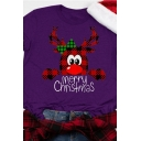 Fancy Cool Roll Up Sleeve Crew Neck Letter MERRY CHRISTMAS Reindeer Pattern Loose Tee for Girls