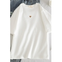 Women's Simple Short Sleeve Crew Neck Leopard Heart Printed Loose Fit T-Shirt