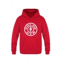 Hot Popular Letter GOLD'S GYM Print Long Sleeve Kangaroo Pocket Fitted Sports Hoodie