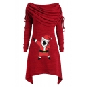 Chic Cute Girls' Long Sleeve Cowl Neck Santa Claus Pattern Drawstring Asymmetric Midi A-Line Dress