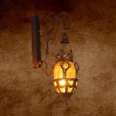 1 Light Dining Room Wall Mounted Lamp Vintage Red/Yellow/Blue Sconce Light with Lantern Hand Blown Glass Shade
