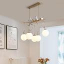White Glass Sphere Chandelier Lighting Postmodern 5 Lights Gold Pendant Light Kit
