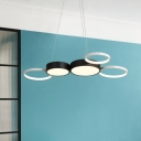 Acrylic Round Chandelier Lamp Modern Integrated Led Hanging Light for Dining Room