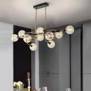 Post Modern Sputnik Pendant Light with Globe Glass Shade 10 Lights Dining Room Hanging Light in Black