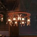9 Lights Metal Hanging Light Coastal Brown Lantern Dining Room Chandelier with Wood Shelf