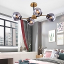 White/Smoke Gray Glass Globe Semi Flush Light Modern Style 4/6/8 Lights Brass Semi Ceiling Mount Chandelier