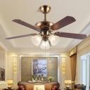 Flared Opal Glass Ceiling Fan Traditionalism 3 Bulbs Living Room Semi Flush Mount in Brass