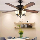 Frosted Glass Black Ceiling Fan Light Bowl 3 Bulbs Dining Room Semi Mount Lighting in Black, Wall/Remote Control/Pull Chain
