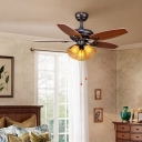 White Glass Brown Ceiling Fan Lamp Flower 3 Bulbs Retro Semi Mount Lighting for Bedroom, Pull Chain/Remote Control