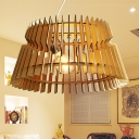 1 Bulb Bedroom Ceiling Light Asian Beige Suspended Lighting Fixture with Tapered Wood Shade