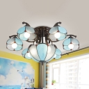 Scalloped Semi Flush Light Fixture Tiffany Blue/White/Gray Glass 9 Heads Ceiling Mount Light