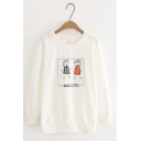 Fancy Letter Cartoon Printed Long Sleeve Round Neck Loose Fit Graphic Sweatshirt