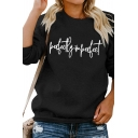 Ladies Creative Letter PERFECTLY IMPERFECT Print Long Sleeve Daily Sweatshirt