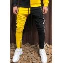 New Stylish Color Block Patchwork Side Tape Drawstring Waist Skinny Fashion Sport Pants