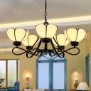 Curving Arm Pendant Chandelier 3/6/8 Lights White/Blue/Beige Glass Baroque Stylish Hanging Ceiling Light in Black