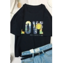 Cool Street Short Sleeve Crew Neck Letter LOVE Monkey Print Loose Fit Tee for Girls