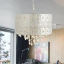 4-Bulb Dining Room Chandelier Lighting Contemporary Nickle Pendant Light Fixture with Drum Beveled Crystal Shade