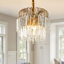 Traditional Cascading Chandelier Lighting Fixture 3 Heads Clear Crystal Glass Pendant Ceiling Light in Gold
